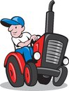Farmer Driving Vintage Tractor Cartoon Royalty Free Stock Photo