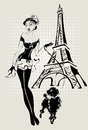 Illustration Fashion woman near Eiffel Tower with little dog Royalty Free Stock Photo