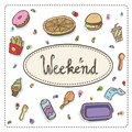 Illustration of fast food: pizza, donuts, hamburger, fries, coffee, chicken,