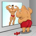 Illustration a fat man and his reflection this is file of eps format Royalty Free Stock Photo