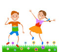 Illustration Featuring Dancing Kids