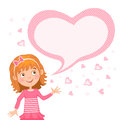 Illustration featuring a girl and bubble for your text in heart shape.