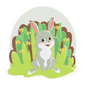 Illustration featuring a hare sitting on the grass background with flowers.