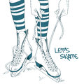 Illustration with female legs in skates doodle and process of lacing Stock Photography