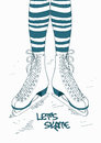 Illustration with female legs in skates doodle striped tights and Stock Photography