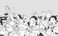Illustration of festival crowd going crazy at concert