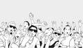 Illustration of festival crowd going crazy at concert