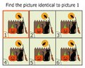 Illustration of Finding Two Identical Pictures. Educational Game for Children. Find the Same.