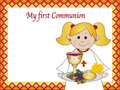 Illustration for first communion for girl Royalty Free Stock Image