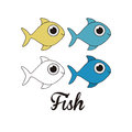 Illustration of fish in different graphic styles vector Royalty Free Stock Photography