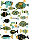 Illustration with fishes. Funny fish outline art