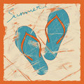 Illustration of flip flops on a retro background Royalty Free Stock Images