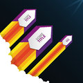Illustration of a flying rocket in space. Vector with text Royalty Free Stock Photo