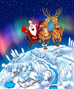 Illustration of flying Santa Claus Royalty Free Stock Photography