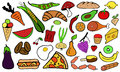 Illustration food doodles isolated Stock Photo