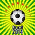 Illustration football card in Brazil flag colors. Soccer ball