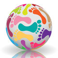 Illustration footprints different colors ball Stock Photos