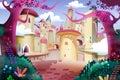 Illustration forest castle realistic fantastic cartoon style artwork scene wallpaper story background card design Stock Image