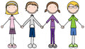 Illustration of four kids holding hands Stock Image