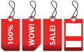 Illustration of four red sale labels. Stock Image