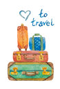 Illustration of four suitcases for travel on a white background painted with watercolor