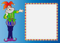 Illustration frame with merry clown Stock Image