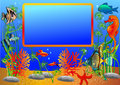 Illustration frame with undersea fish Stock Photo