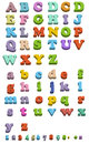 Illustration of fridge magnet letters simple and capital isolated on white Royalty Free Stock Photos