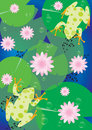 Illustration of Frogs and Lotus Royalty Free Stock Photo