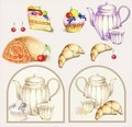 Illustration of a fruitcake and  pie and croissant Stock Photo
