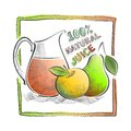 Illustration with fruits and juices the image of the fruit juice apple pear Stock Image