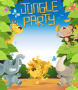 Illustration of a fun jungle border with lots of animals enjoying a fun party Stock Photography