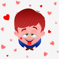 Illustration funny boy love flying hearts Stock Images