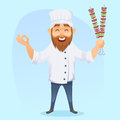 A illustration of funny cartoon cook man with barbeque