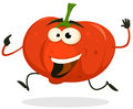 Illustration of a funny happy and healthy cartoon tomato vegetable character running Royalty Free Stock Image