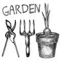 illustration of garden tools. on white background.