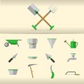 Illustration of gardening tools set gray with green elements Royalty Free Stock Image