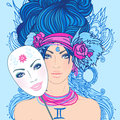 Illustration of gemini zodiac sign as a beautiful girl with mask vector young woman sad expression holding expressing Stock Photo