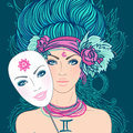 Illustration of gemini zodiac sign as a beautiful girl vector young woman with sad expression holding mask expressing Royalty Free Stock Photo