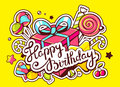 Illustration of gift box and confection with text happy birthday on yellow background star dot hand draw line art design Stock Images