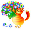 Illustration of ginger cat with bouquet of flowers.