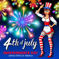 Illustration of a girl celebrating Independence Day Vector Poster. 4th of July Lettering. American Red on Blue Background with Sta