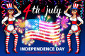 Illustration of a girl celebrating Independence Day Vector Poster. 4th of July Lettering. American Red Flag on Blue Background wit