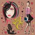 Illustration of a girl & face girl