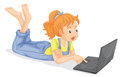 Illustration of girl with laptop on a white background Stock Image