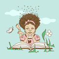 Illustration with girl lying on the grass and read hair made of letters reading a book Stock Images