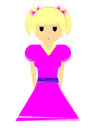 Illustration girl in pink dress cartoon isolated o the on white Stock Photo