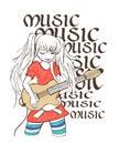 Illustration of girl playing guitar, tee shirt print