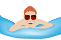 Illustration girl rubber swimming pool Royalty Free Stock Photo