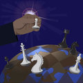 Illustration of global policy politics as a game chess Royalty Free Stock Photo